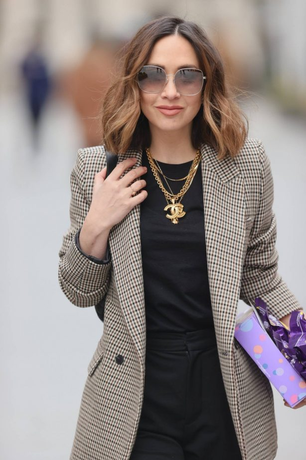 Myleene Klass - In blazer and gold chains out in London