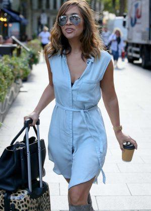Myleene Klass in Blue Mini Dress - Out in London