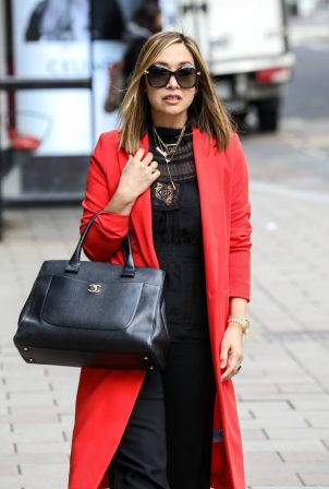 Myleene Klass - In bright red coat at Smooth radio in London