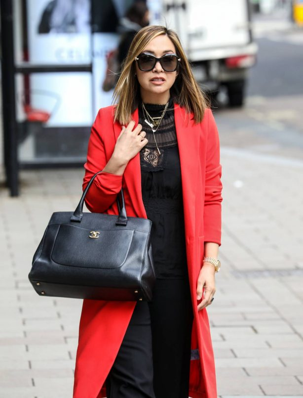 Myleene Klass - In bright red coat at Smooth radio in London