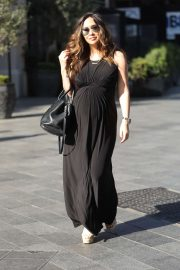 Myleene Klass - In classic black maternity dress arriving at Global Radio in London