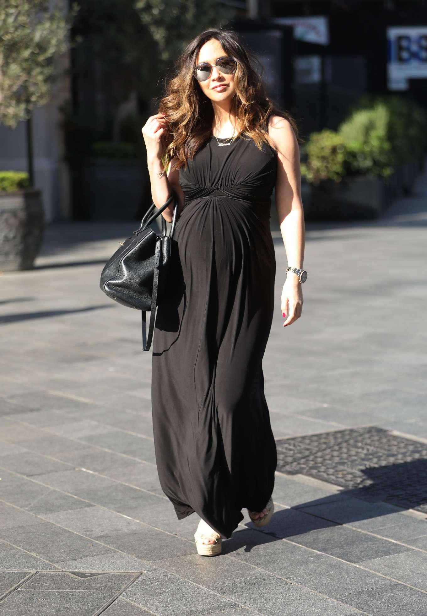 Myleene Klass 2019 : Myleene Klass: In classic black maternity dress arriving at Global Radio in London-01