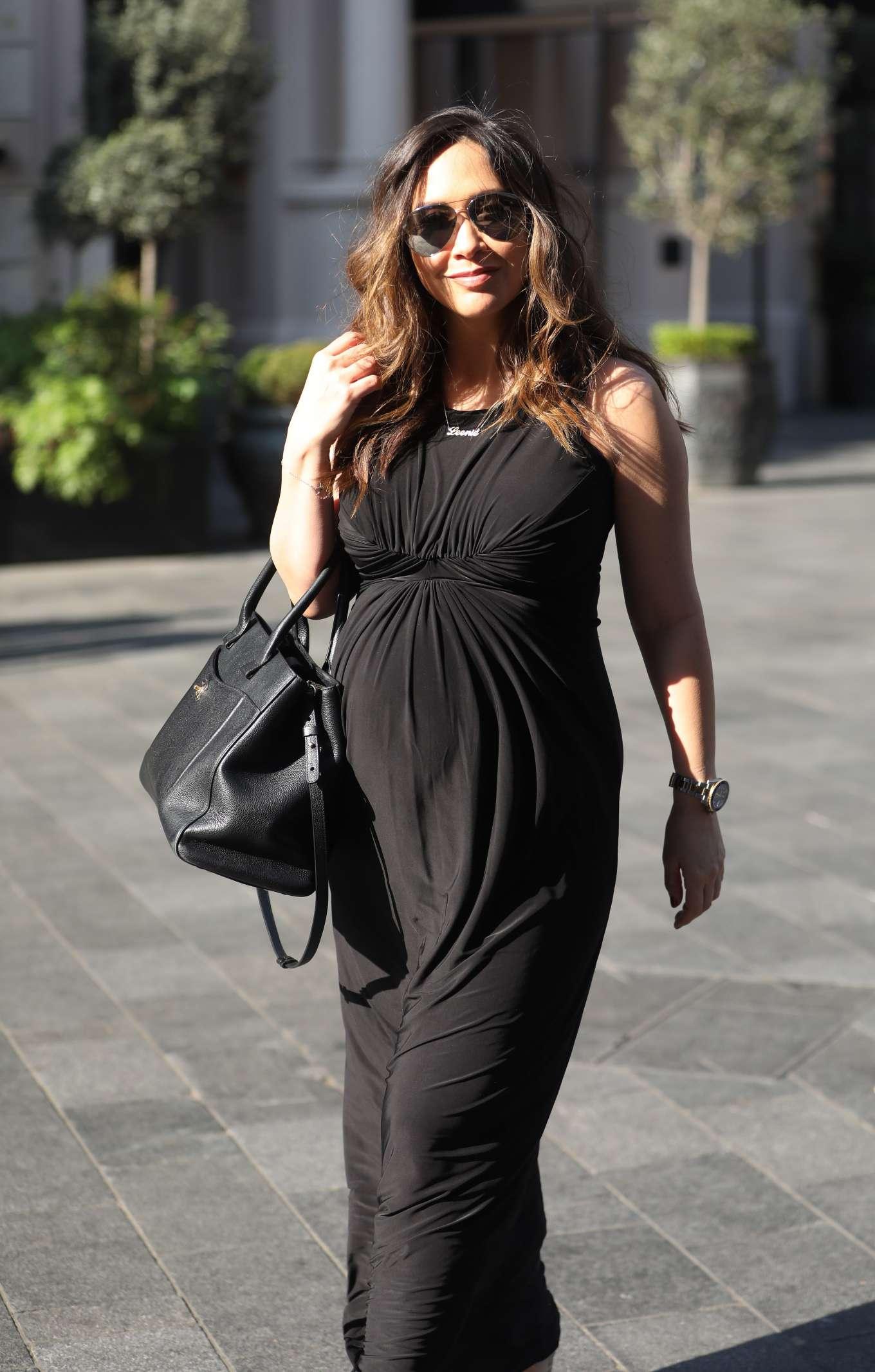 Myleene Klass 2019 : Myleene Klass: In classic black maternity dress arriving at Global Radio in London-07