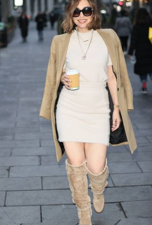 Myleene Klass - In cream dress and boots at Smooth radio in London