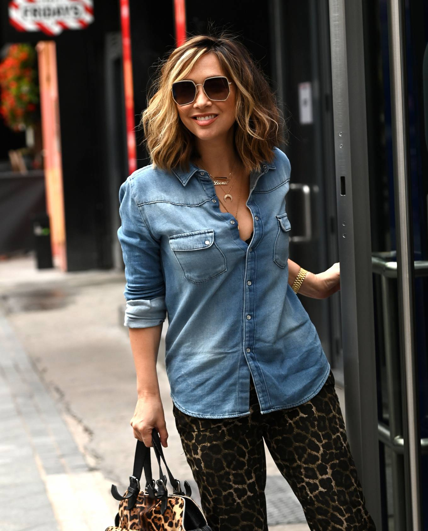 Myleene Klass - In denim at the Global Studios in London