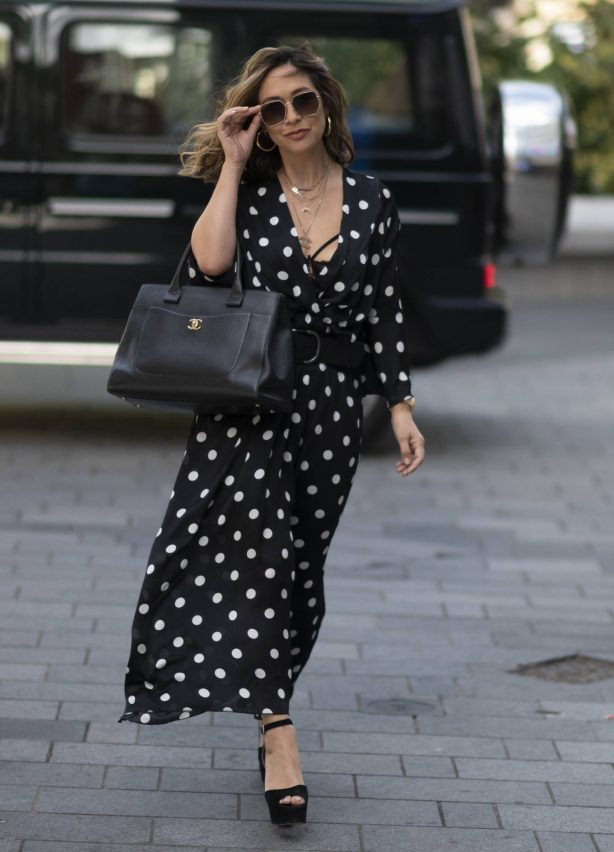 Myleene Klass - In dotted summer dress arriving at the Global Radio Studios in London