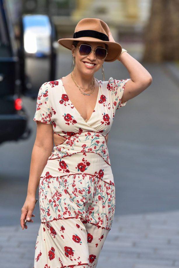 Myleene Klass - In florall dress arriving at the Global studios