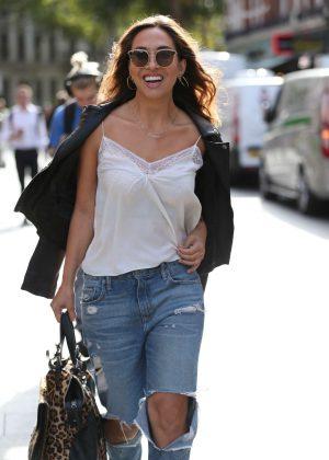 Myleene Klass in Jeans - Arriving At Global Radio Studios in London