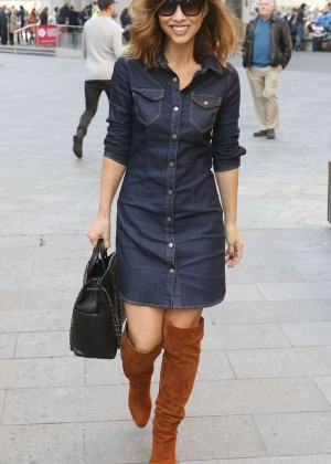 Myleene Klass in Jeans Dress Out in London