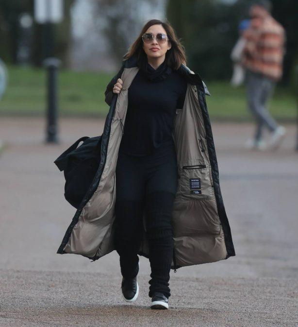 Myleene Klass - In leggings and knee high socks at Dancing on Ice rehearsals in London