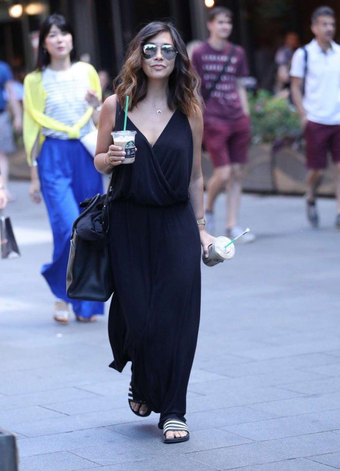 Myleene Klass in Long Black Dress in London