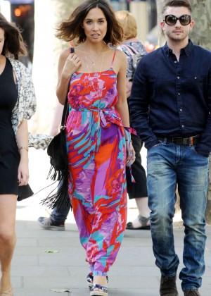 Myleene Klass in Long Dress Out in London