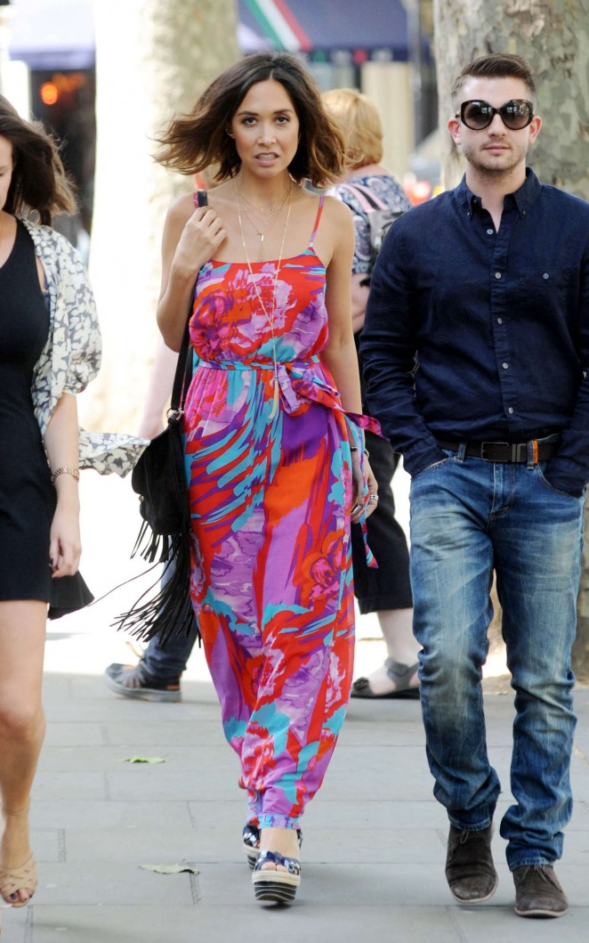 Myleene Klass in Long Dress Out and about in London