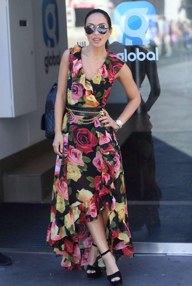 Myleene Klass in long floral dress out in London