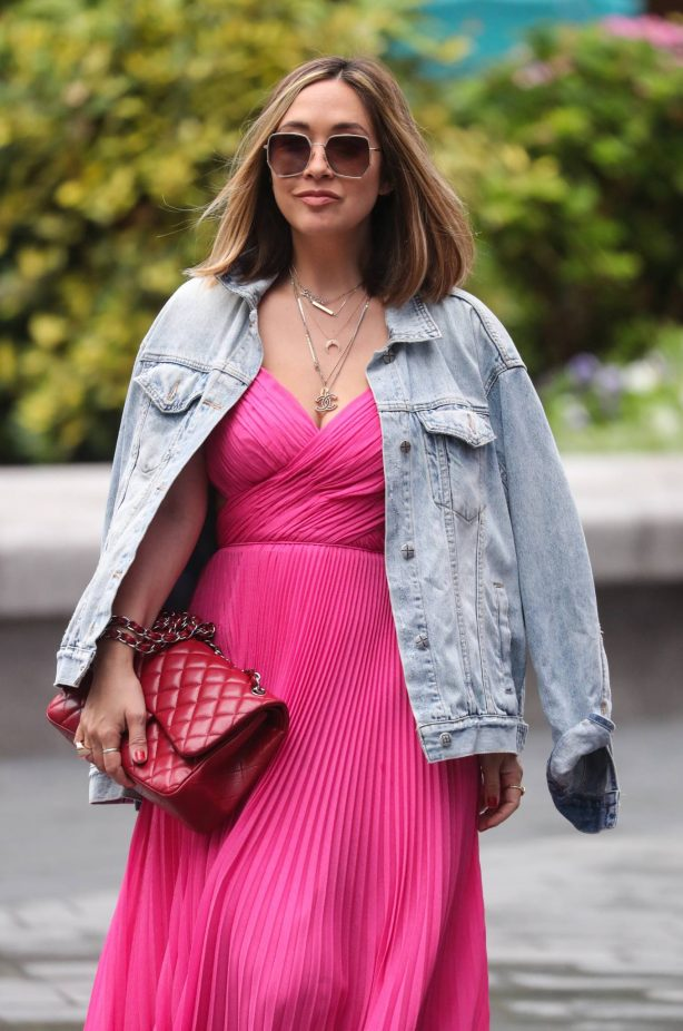 Myleene Klass in Long Pink Dress - Arriving at Smooth Radio in London