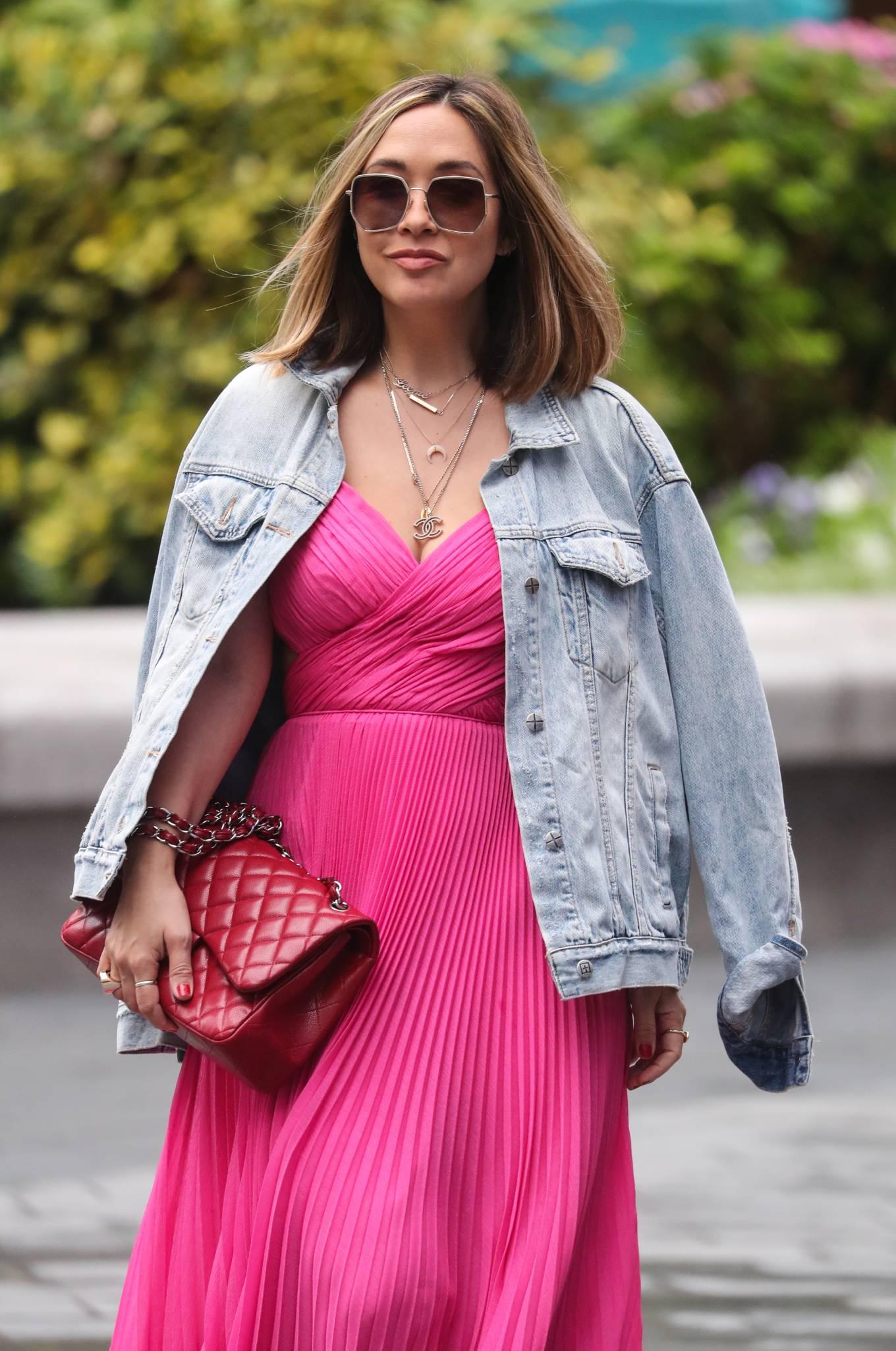 Myleene Klass in Long Pink Dress - Arriving at Smooth Radio in London