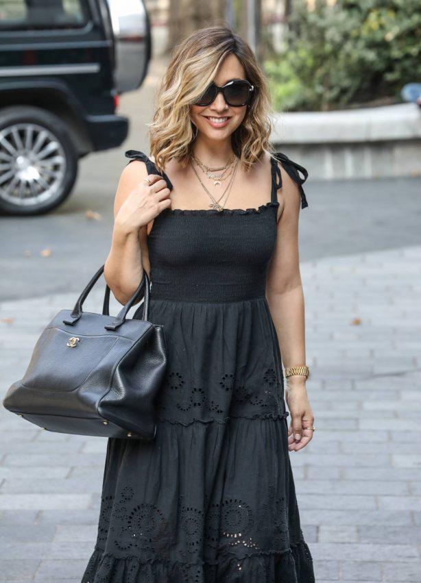 Myleene Klass - In maxi black dress arriving at The Global Radio Studios in London
