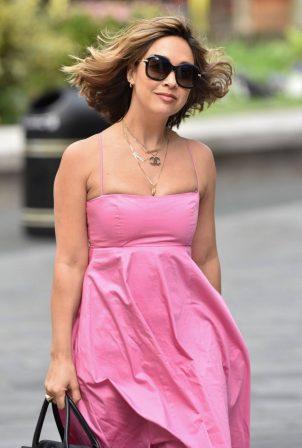 Myleene Klass - In pink arriving at Global Studios in London