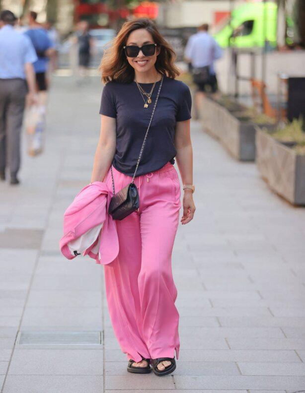 Myleene Klass - in pink arriving at Smooth radio studios in London