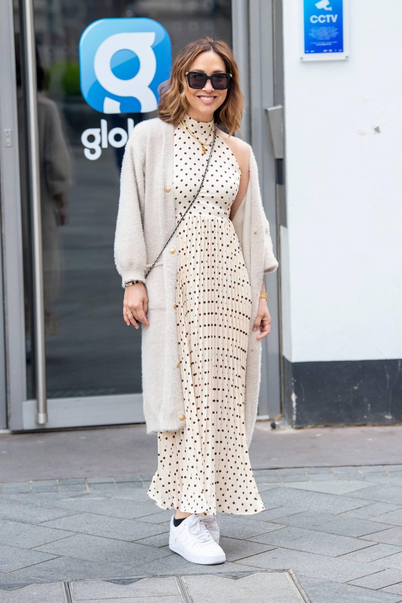 Myleene Klass - In polka dot dress arriving at the Global studios in London