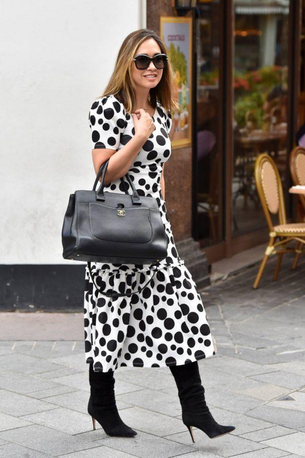 Myleene Klass - In polka dot dress at Smooth radio in London