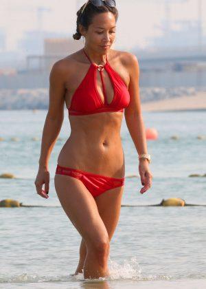 Myleene Klass in Red Bikini on Beach in Dubai
