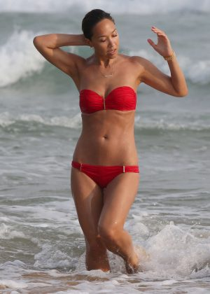 Myleene Klass in Red Bikini on holiday in Sri Lanka