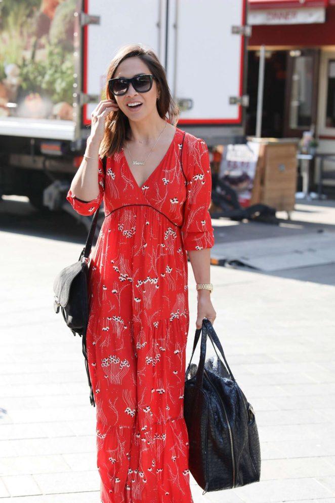 Myleene Klass in Red Dress - Arrives at Global Radio in London
