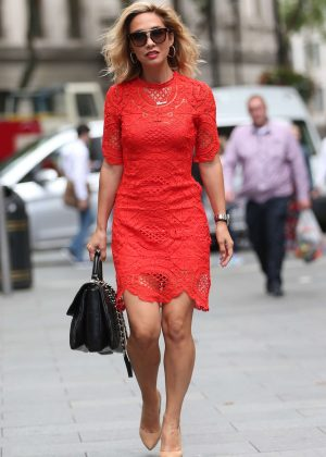 Myleene Klass in Red Dress out in London