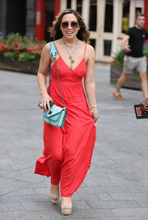 Myleene Klass - In red maxi dress at Heart radio show in London