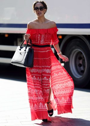 Myleene Klass in red summer dress at Global Radio in London