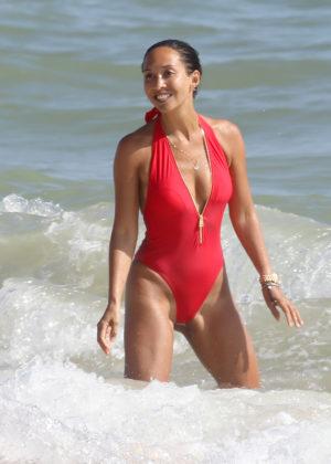 Myleene Klass in Red Swimsuit in Portugal