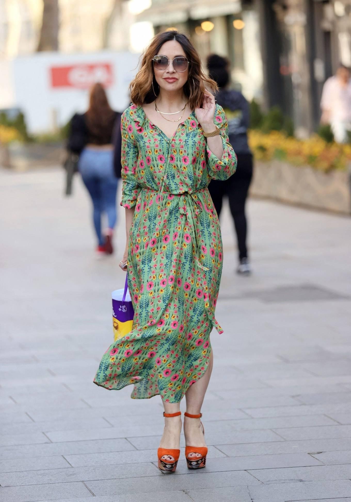 Myleene Klass - In retro summer dress at Smooth Radio in London