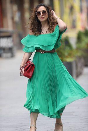 Myleene Klass in Strapless Green Dress exits Smooth radio in London