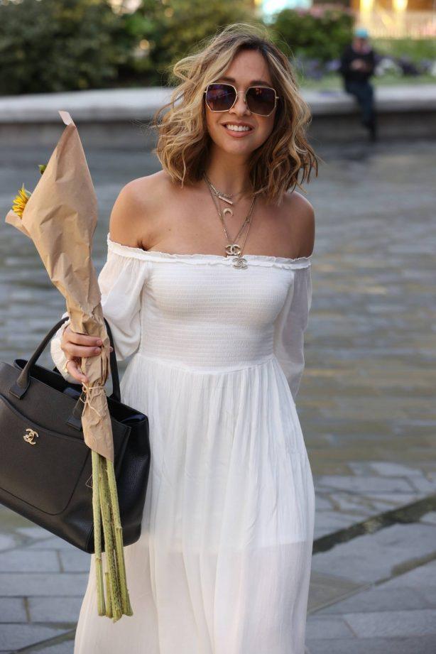 Myleene Klass - In white dress arrives at the Smooth Radio Studios in London