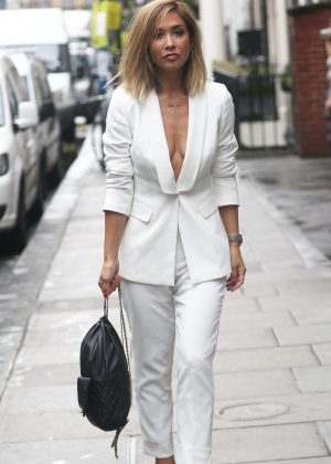 Myleene Klass in White Suit out in Soho