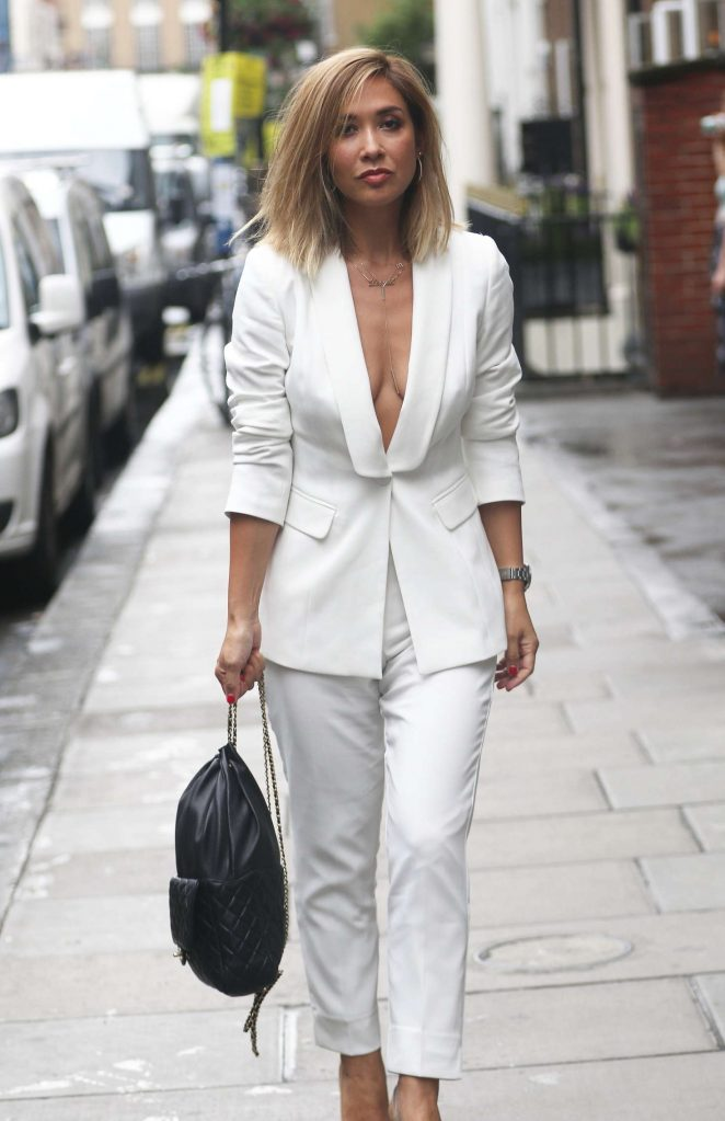 Myleene Klass in White Suit out in Soho