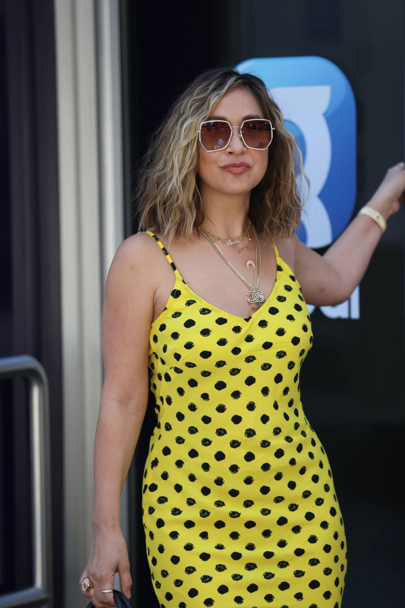 Myleene Klass 2020 : Myleene Klass – In yellow polka dot dress in London-18