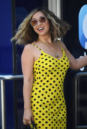 Myleene Klass - In yellow polka dot dress in London