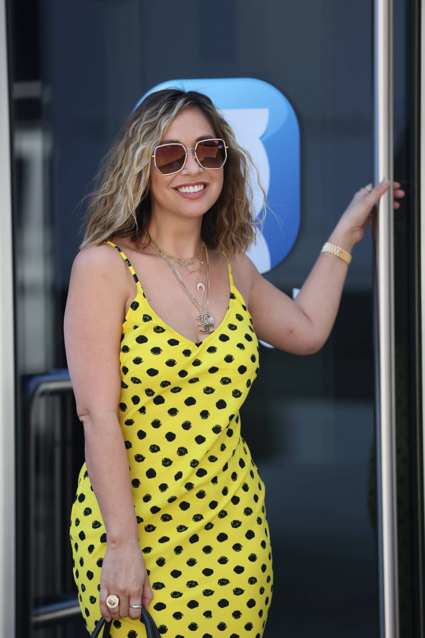 Myleene Klass 2020 : Myleene Klass – In yellow polka dot dress in London-23