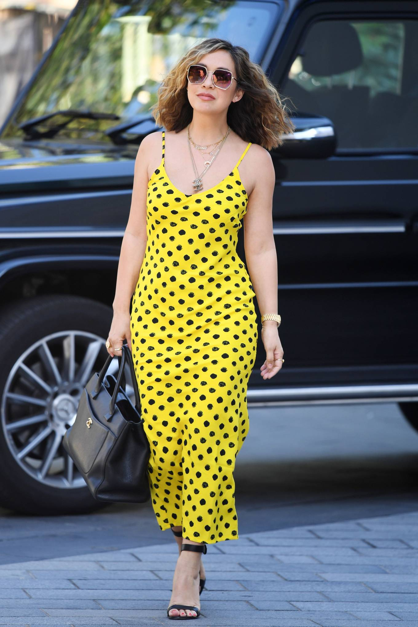 Myleene Klass 2020 : Myleene Klass – In yellow polka dot dress in London-25