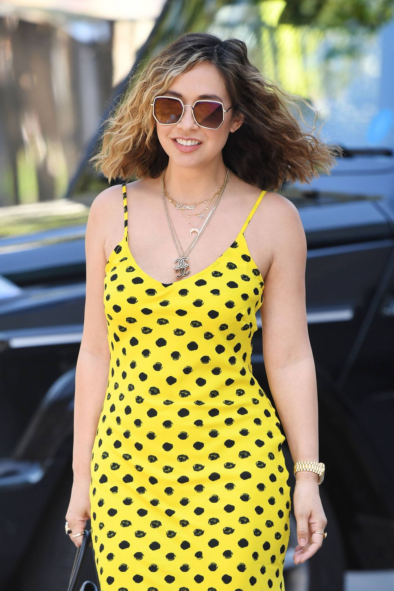 Myleene Klass 2020 : Myleene Klass – In yellow polka dot dress in London-28