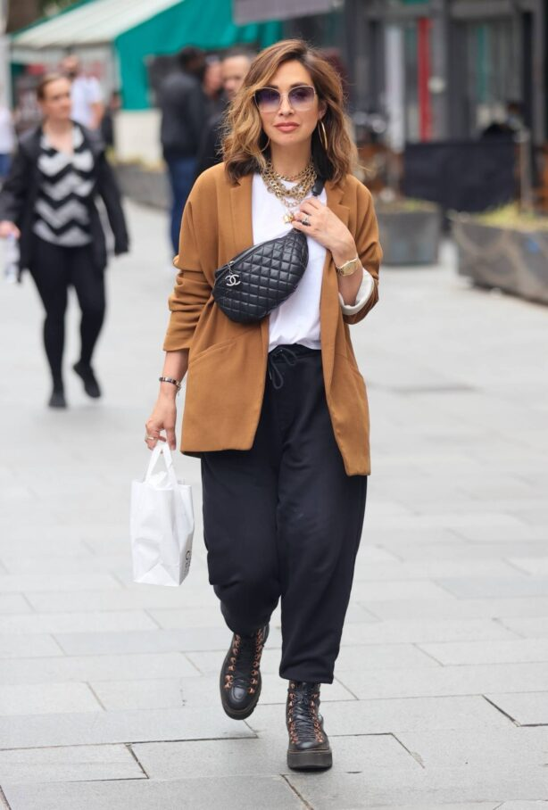 Myleene Klass - Looks chic in a Suede Jacket and loose trousers at Smooth radio in London