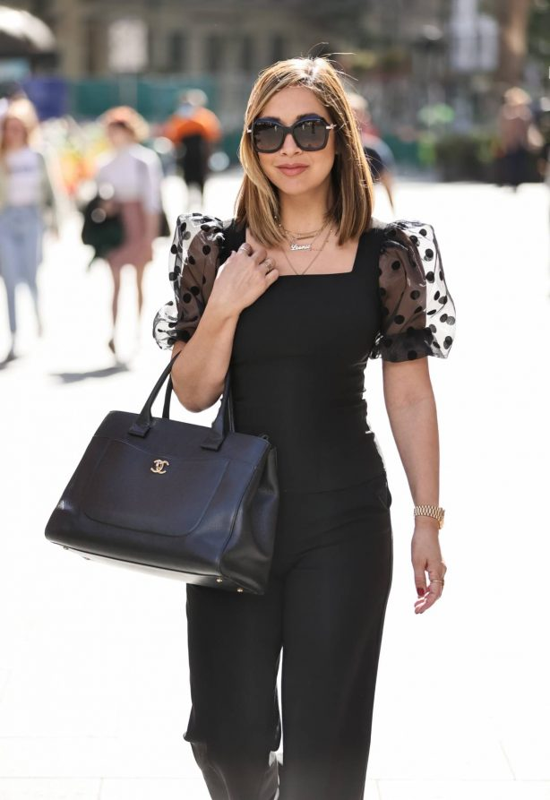 Myleene Klass - Looks in sheer lace top and matching trousers in London