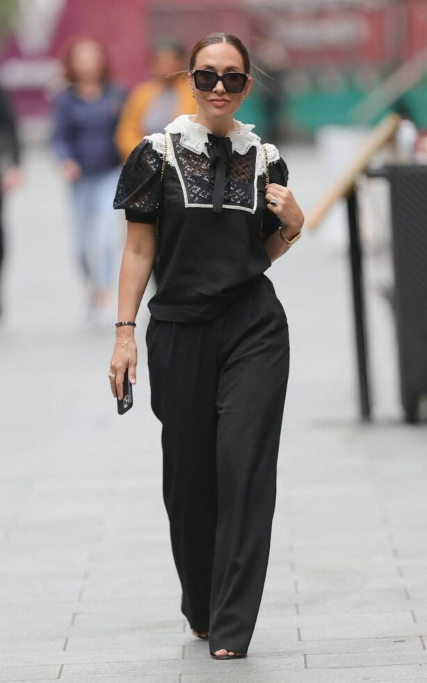 Myleene Klass - Out in a monochrome top and black pants in London