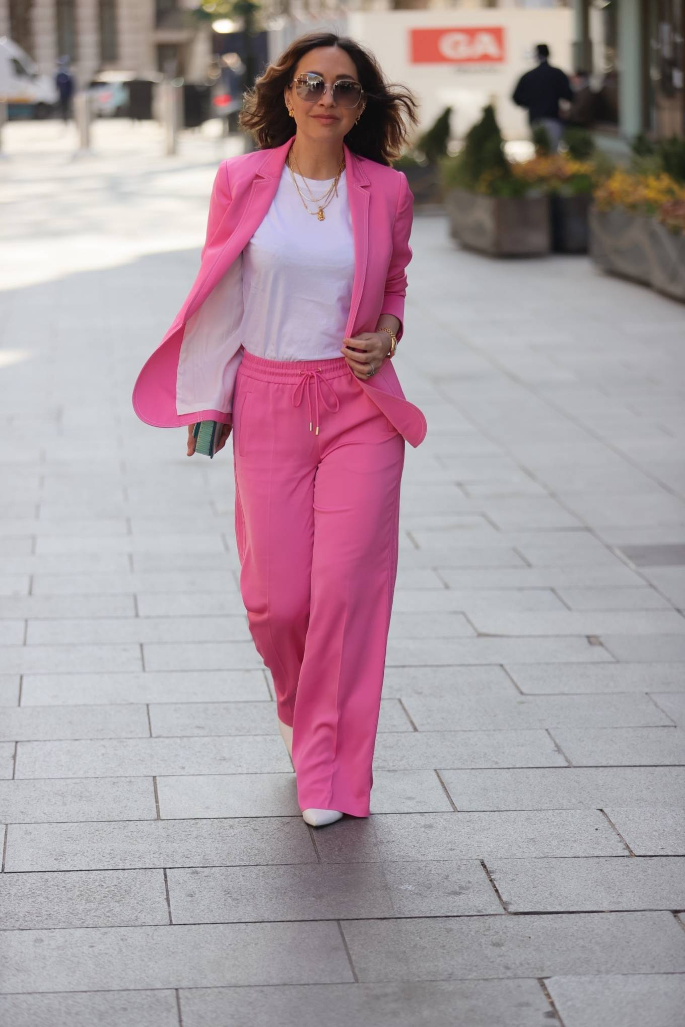 Myleene Klass - Out in pink on her Birthday at Smooth radio in London