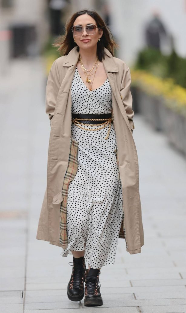 Myleene Klass - Out in Polka Dot Dress and trench coat in London