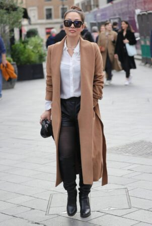 Myleene Klass - Rocks leather shorts and heals at Smooth radio studios in London