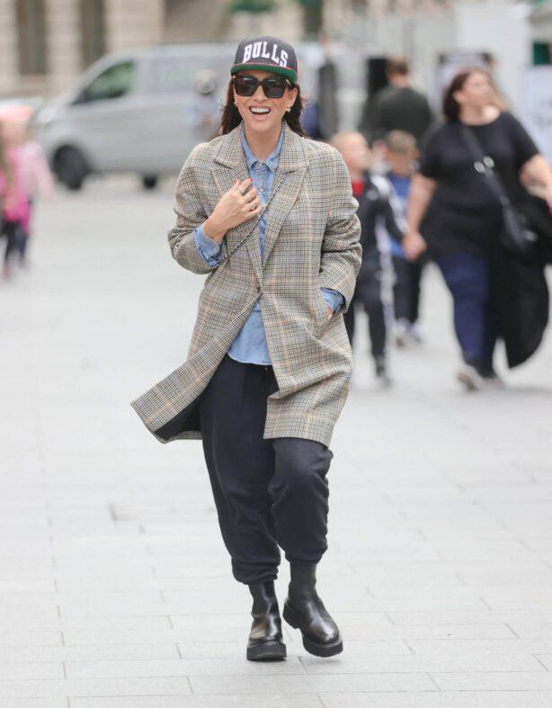 Myleene Klass - Seen at Smooth radio in a tweed blazer and baseball cap in London