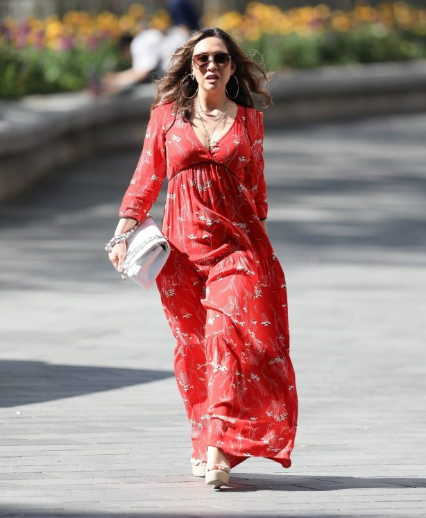 Myleene Klass - Spotted in red maxi dress at Smooth Radio in London